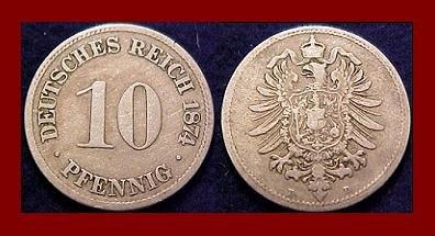 Empire GERMANY 1874(B) 10 PFENNIG COIN KM#4 Kaiser Friedrich Wilhelm I - BEAUTIFUL!