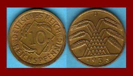 Weimar Republic GERMANY 1936(D) 10 REICHSPFENNIG COIN KM#40 Europe