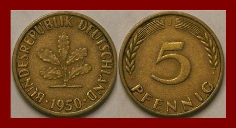 WEST GERMANY 1950(J) 5 PFENNIG COIN KM#107 Europe ...