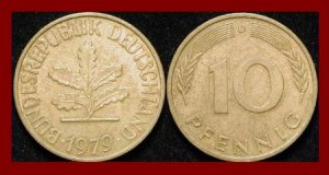 WEST GERMANY 1979(D) 10 PFENNIG COIN KM#108 Europe - Federal Republic of Germany - Post WWII Coin
