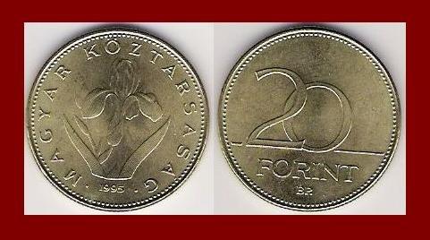 HUNGARY 1995 20 FORINT COIN KM#696 Europe - Iris Flower