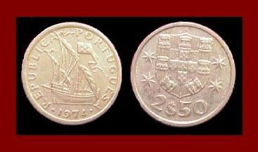 PORTUGAL 1974 2 1/2 (HALF) ESCUDOS COIN KM#590 Europe ~ Galleon Ship