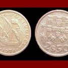 PORTUGAL 1974 2 1/2 (HALF) ESCUDOS COIN KM#590 Europe ~ Galleon Ship