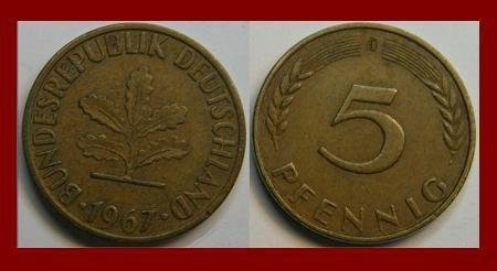 WEST GERMANY 1967(D) 5 PFENNIG COIN KM#107 Europe - Federal Republic of Germany - SCARCE!