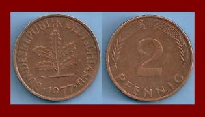 WEST GERMANY 1977(D) 2 PFENNIG COIN KM#106a Europe - Federal Republic of Germany - Post WWII Coin