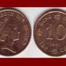 HONG KONG 1990 10 CENTS COIN KM#55 Asia Queen Elizabeth II