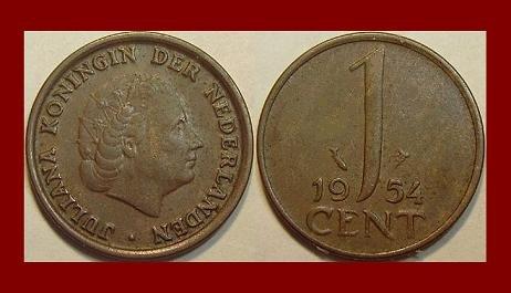 Netherlands 1954 1 Cent Bronze Coin Km 180 Queen Juliana