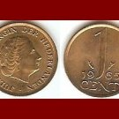 NETHERLANDS 1965 1 CENT BRONZE COIN KM#180 Queen Juliana