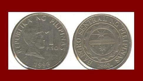 PHILIPPINES 1996 1 PISO COIN KM#269 Southeast ASIA - National Hero Dr. Jose Rizal