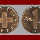 SWITZERLAND 1994 1 RAPPEN BRONZE COIN KM#46 Europe - LOW Mintage!