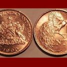 TRINIDAD & TOBAGO 1990 5 CENTS BRONZE COIN KM#30 Caribbean - Bird of Paradise
