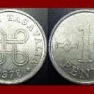 FINLAND 1978 1 PENNI COIN KM#44a Europe - 4 Loops and 2 Hands Clasped