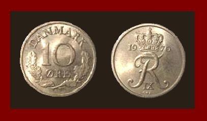 DENMARK 1970 10 ORE COIN KM#849.1 Europe - King Frederik IX