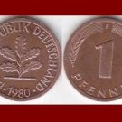 WEST GERMANY 1980(F) 1 PFENNIG COIN KM#105 Europe - Federal Republic of Germany - Post WWII Coin