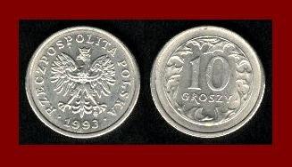POLAND 1993 10 GROSZY COIN Y#279 Europe - XF - BEAUTIFUL!