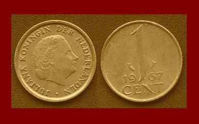 NETHERLANDS 1967 1 CENT BRONZE COIN KM#180 Europe Queen Juliana