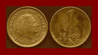 NETHERLANDS 1969 1 CENT BRONZE COIN KM#180 Europe Queen Juliana