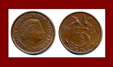 NETHERLANDS 1958 5 CENTS BRONZE COIN KM#181 Europe Queen Juliana