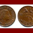 NETHERLANDS 1965 5 CENTS BRONZE COIN KM#181 Europe Queen Juliana