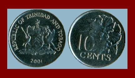 TRINIDAD & TOBAGO 2001 10 CENTS COIN KM#31 BU Beautiful - Caribbean - Flaming Hibiscus Flower
