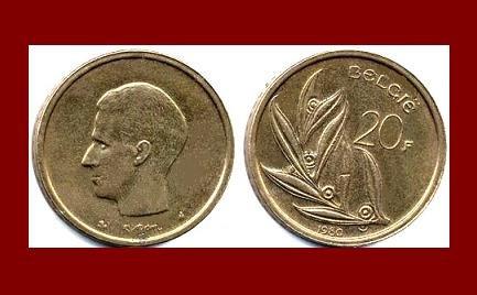 Belgium 1980 20 Francs Belgie Bronze Coin Km 160 Europe