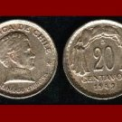 CHILE 1942 20 CENTAVOS COPPER COIN KM#177 South America