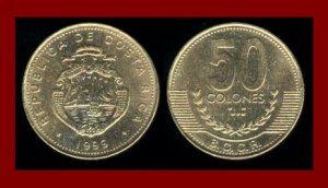 COSTA RICA 1999 50 COLONES BRASS COIN KM#231 Central America