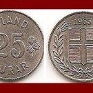 ICELAND 1954 25 ISLAND AURAR COIN KM#11 Europe - LOW MINTAGE