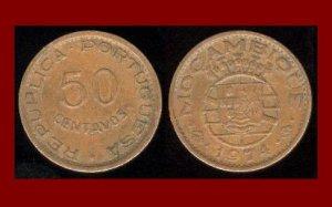 MOZAMBIQUE 1974 50 CENTAVOS BRONZE COIN KM#89 Portuguese Republic Africa