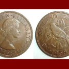 NEW ZEALAND 1958 1 PENNY BRONZE COIN KM#24.2 Oceana - Tui Parson Bird