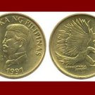 PHILIPPINES 1991 50 SENTIMOS BRASS COIN KM#242.3 Southeast ASIA - Monkey-Eating Eagle