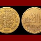 PERU 2007 20 CENTIMOS BRASS COIN KM#306.4 South America