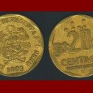 PERU 1993 20 CENTIMOS BRASS COIN KM#306 South America