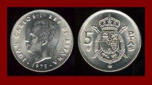 SPAIN 1975(79) 5 PESETAS PTAS COIN KM#807 Europe