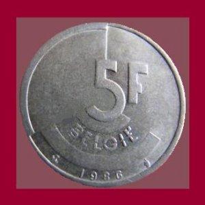 BELGIUM 1986 5 FRANCS BELGIE COIN KM#164 Europe - Dutch Legend