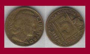 ARGENTINA 1948 5 CENTAVOS COIN KM#40 South America