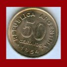 ARGENTINA 1954 50 CENTAVOS COIN KM#49 South America