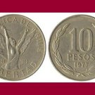 CHILE 1977 10 PESOS COIN KM#210 South America