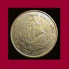 EAST CARIBBEAN STATES 2000 10 CENTS COIN KM#13 - Golden Hind Ship