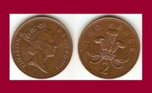 England Great Britain UK 1994 2 Pence Coin KM#936a