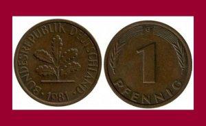 WEST GERMANY 1981(G) 1 PFENNIG COIN KM#105 Europe - Federal Republic of Germany
