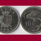 MALTA 1998 10 CENTS COIN KM#96 Europe - Lampuki Fish