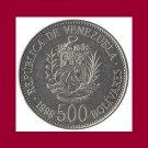 VENEZUELA 1998 500 BOLIVARES COIN Y#79.1 South America - UNC - BEAUTIFUL!