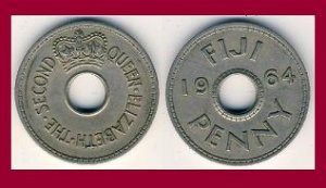 FIJI 1964 1 PENNY COIN KM#21 South Pacific - LOW MINTAGE