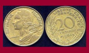 FRANCE 1964 20 CENTIMES COIN KM#930 Europe