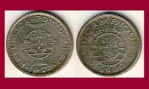 MOZAMBIQUE 1973 5 ESCUDOS COIN KM#86 Africa - Portuguese Republic