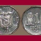 ECUADOR 1988 10 SUCRES COIN KM#92.1 South America - XF - Venus Fertility Idol