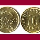 ESTONIA 1998 10 SENTI BRASS COIN KM#22 Europe - 3 Lions - BU - BEAUTIFUL!