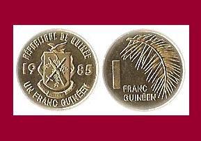 GUINEA 1985 1 FRANC COIN KM#56 Africa - BU - Very Shiny! Beautiful!
