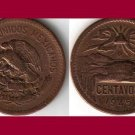MEXICO 1945 20 CENTAVOS BRONZE COIN KM#439 - Mayan Teotihuacan Pyramid